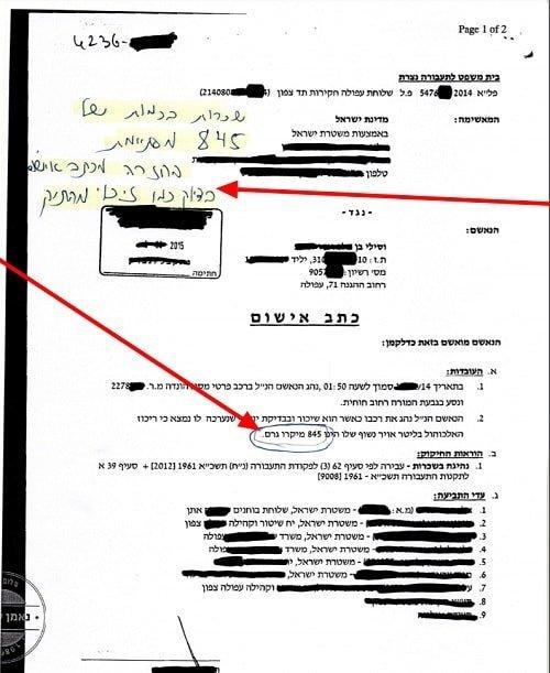 כתב אישום של נהיגה בשכרות 845 וזיכוי